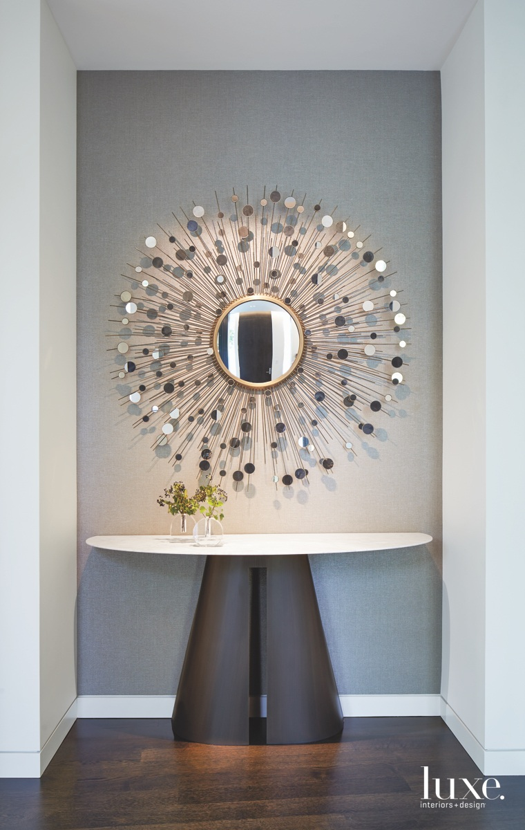 modern entryway sunburst mirror