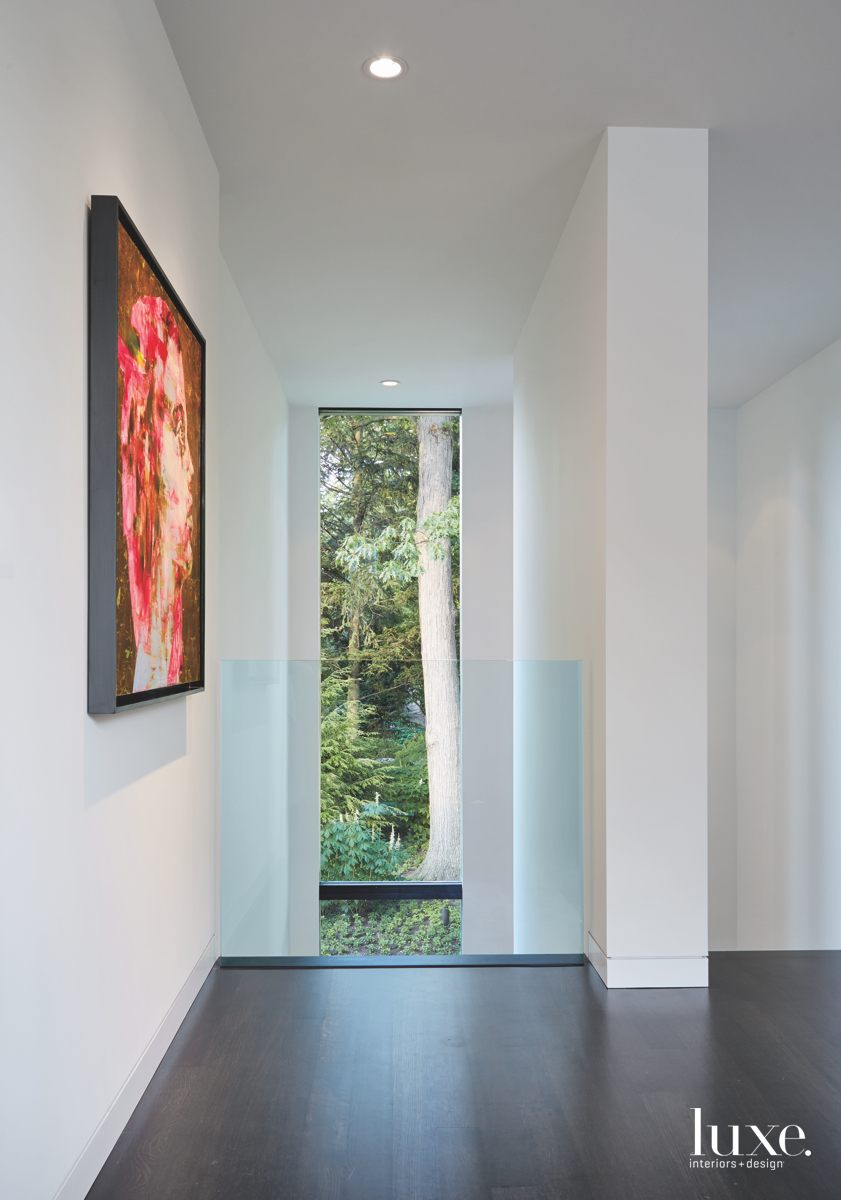 modern hallway mixed-media work glass...