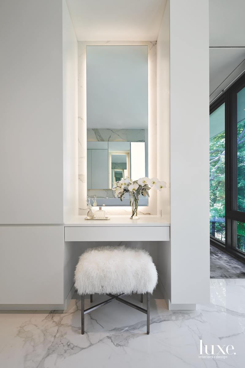 modern white bathroom fur bench...