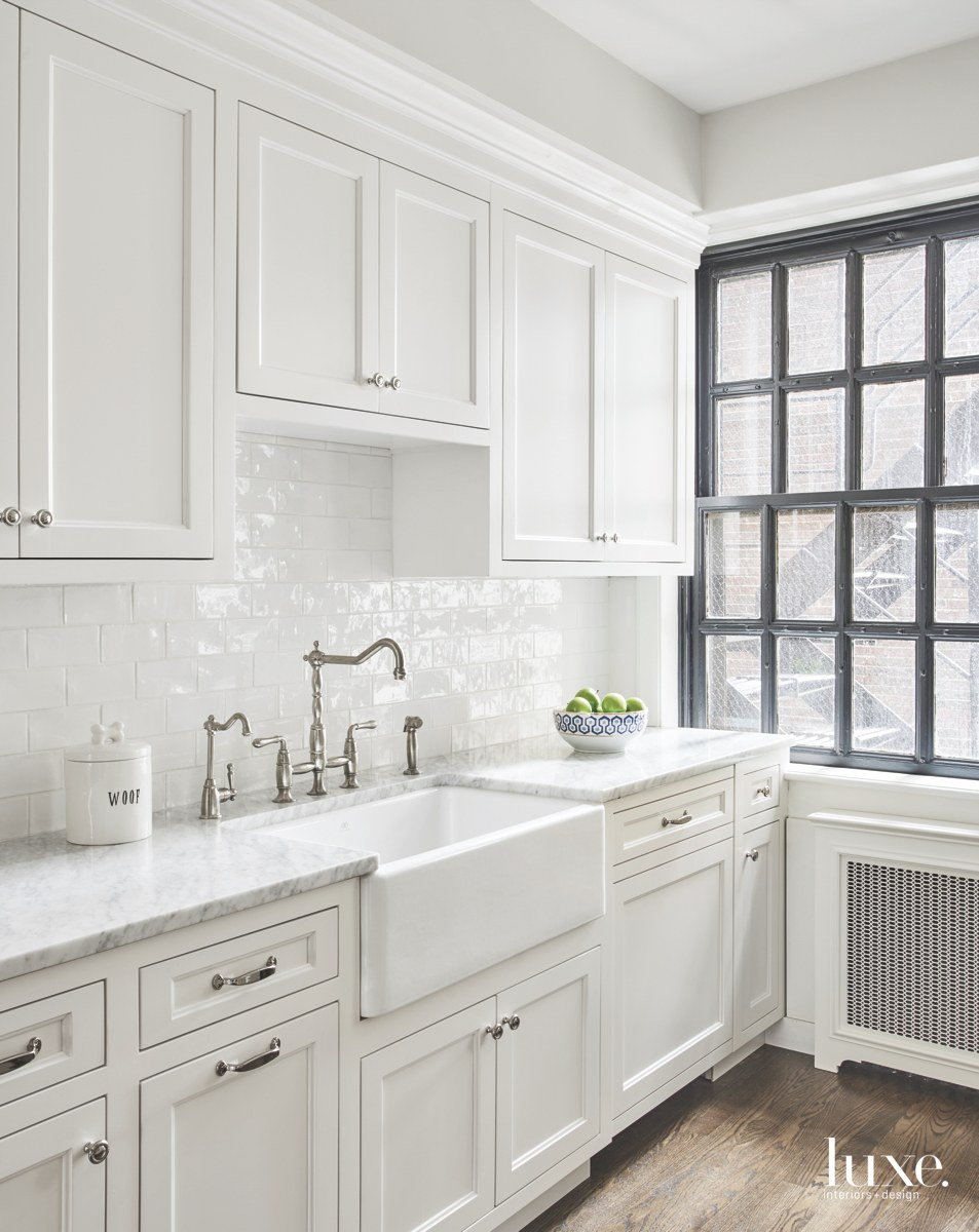 contemporary white kitchen subway tiles