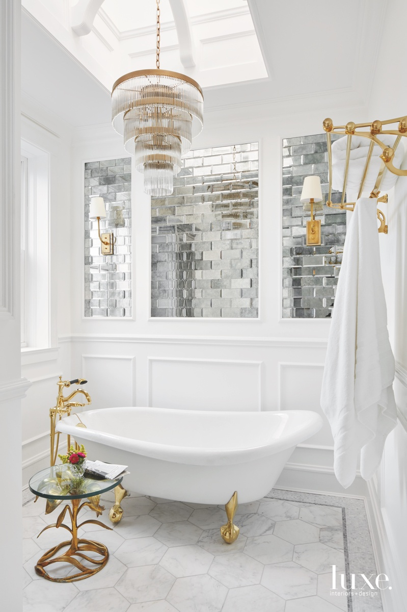modern white bathroom gold accents
