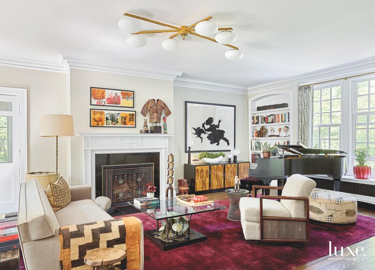 eclectic living room velvet sofa...