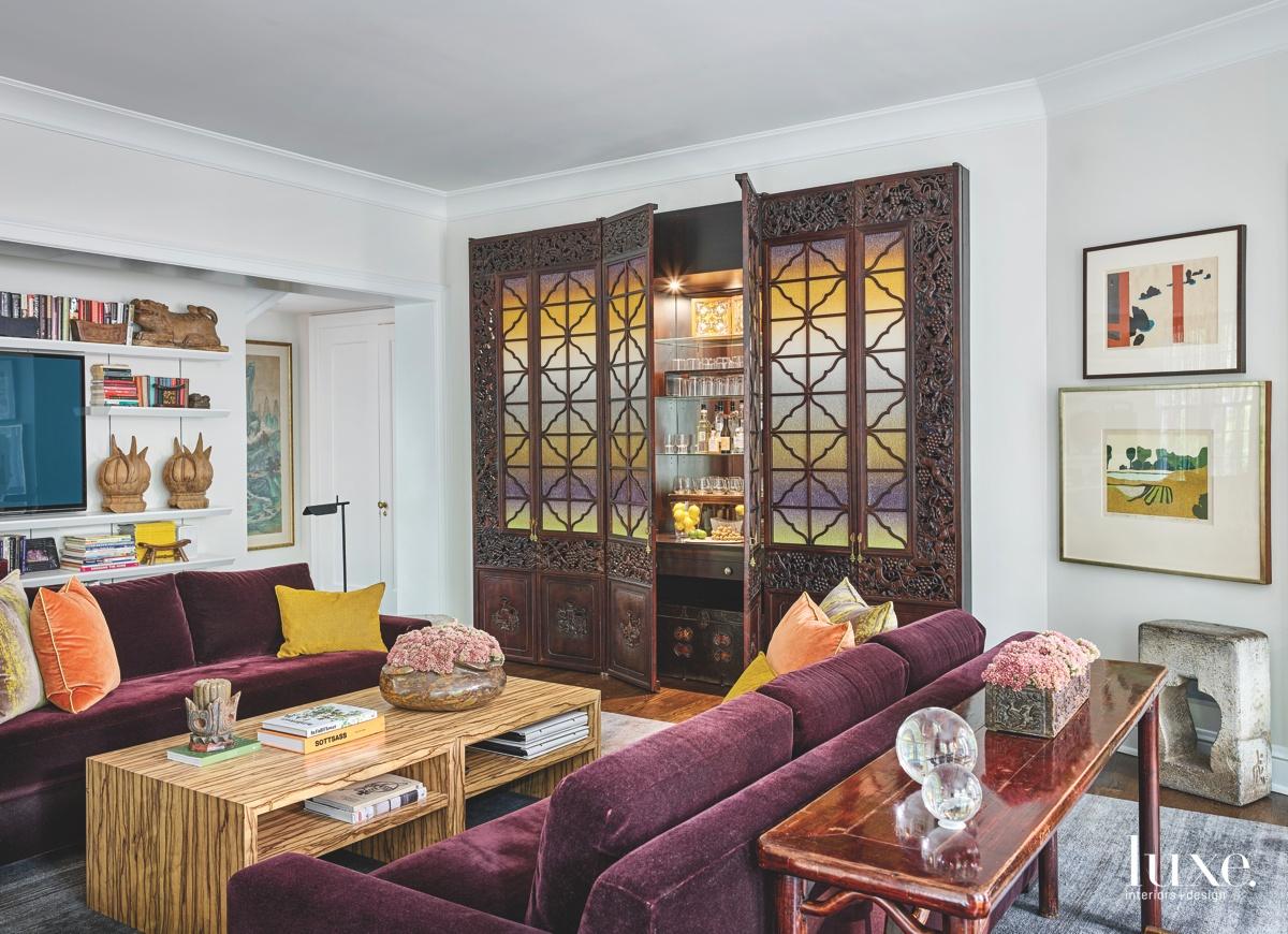 eclectic living room built-in bar...