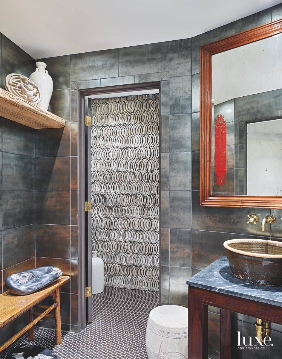 eclectic bathroom graphic vintage Chinese...