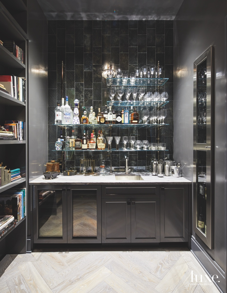 industrial bar glass wall shelves...