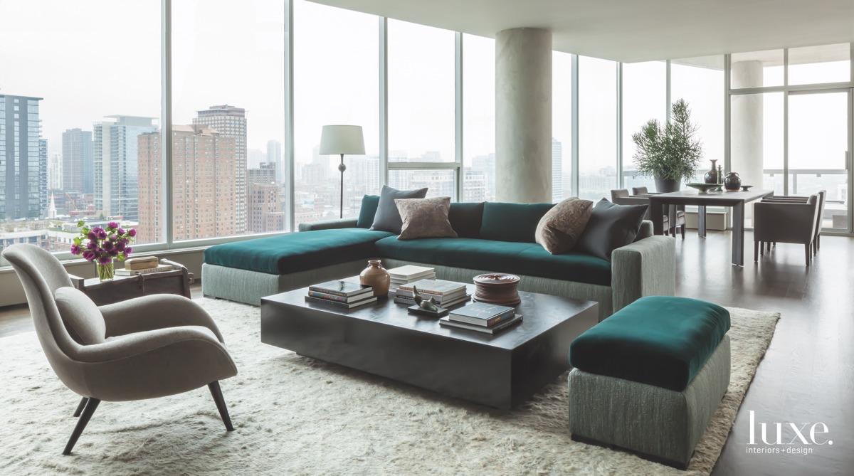modern living room green velvet...