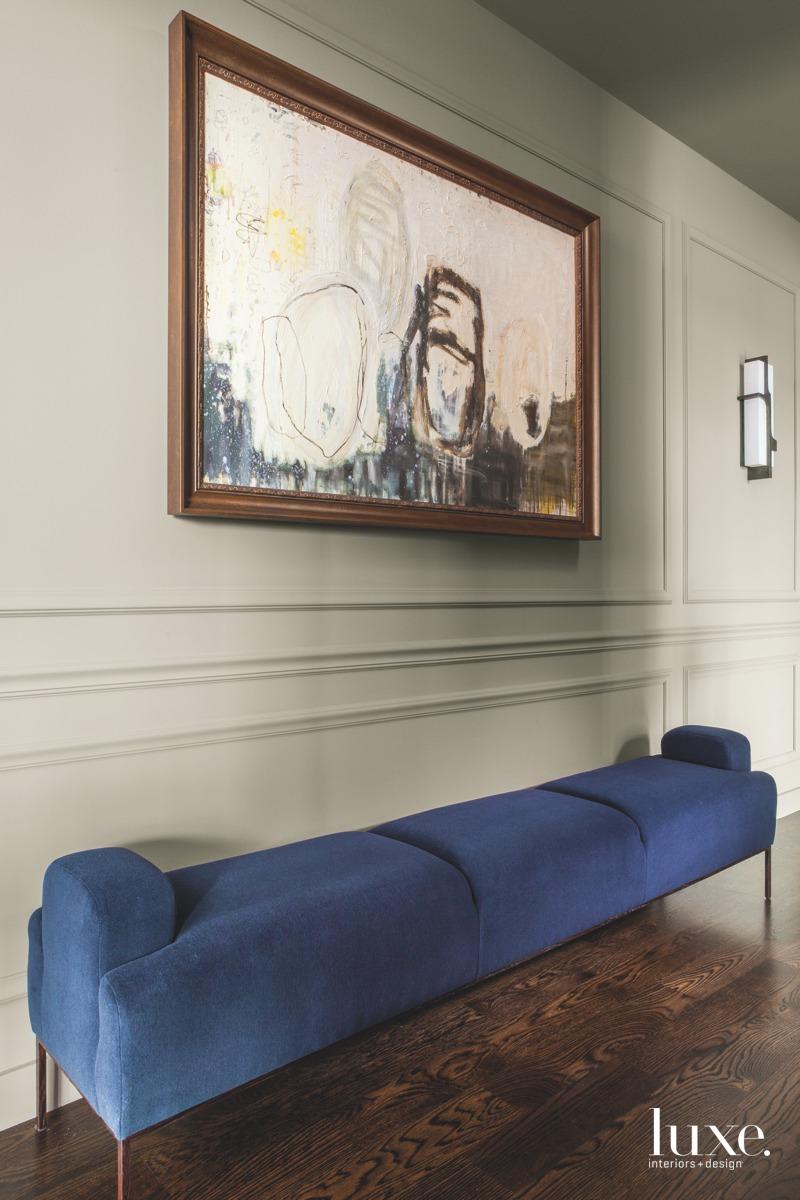 modern entryway blue bench