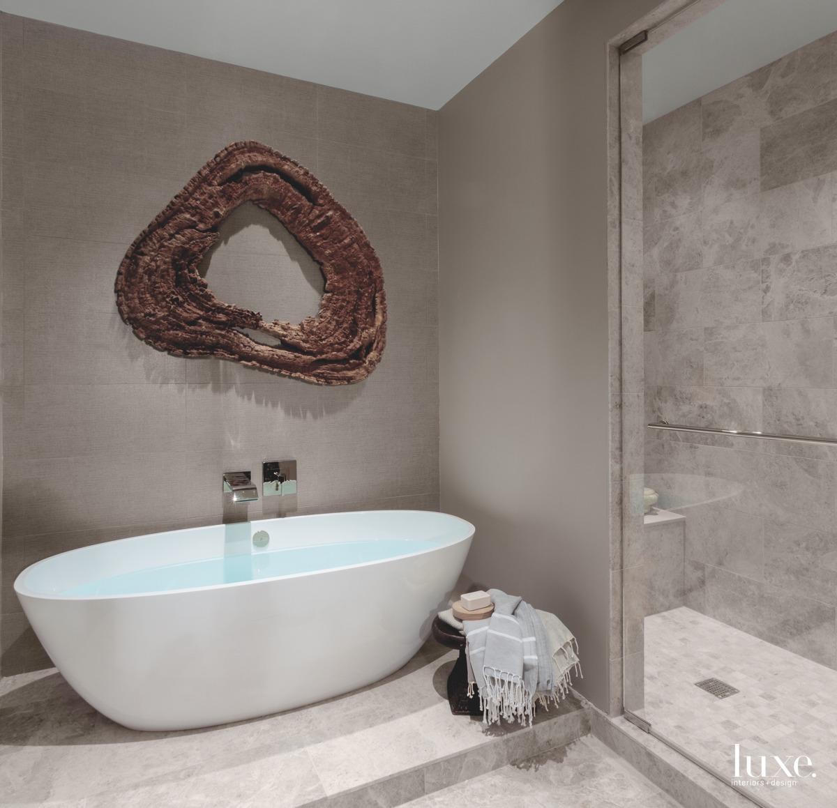 modern bathroom freestanding white tub
