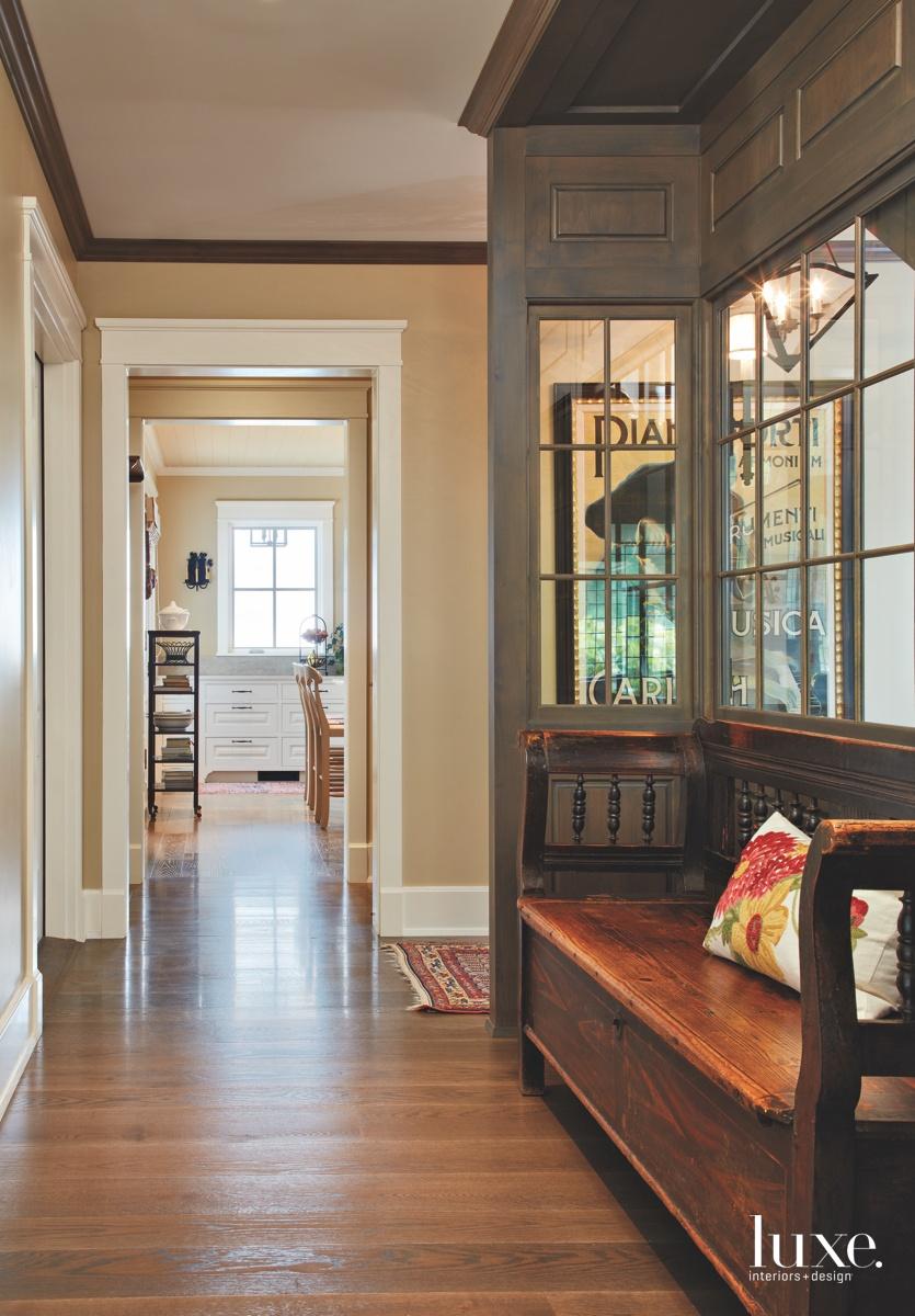 traditional hallway antique bench white-oak...
