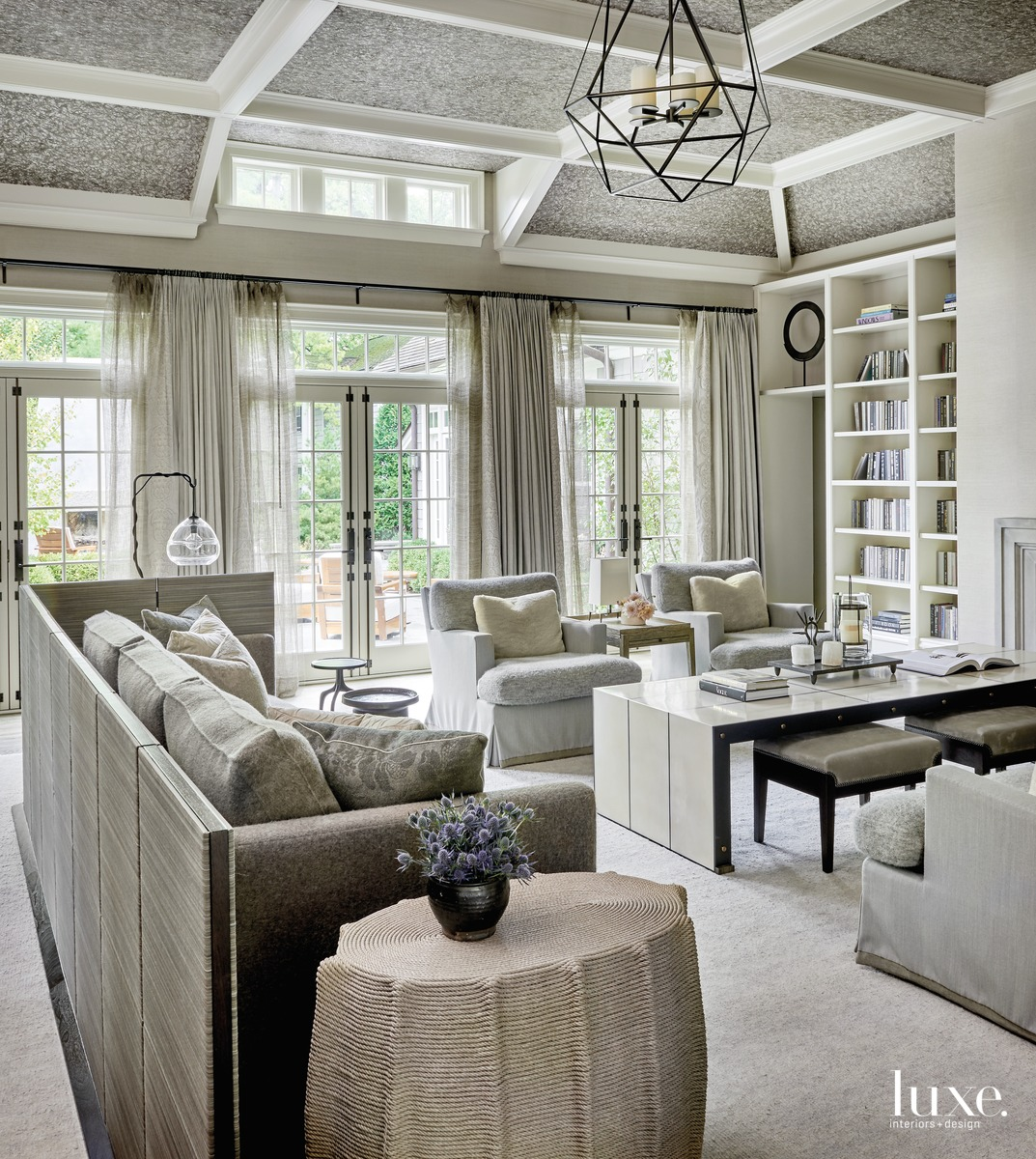 transitional gray neutral living room