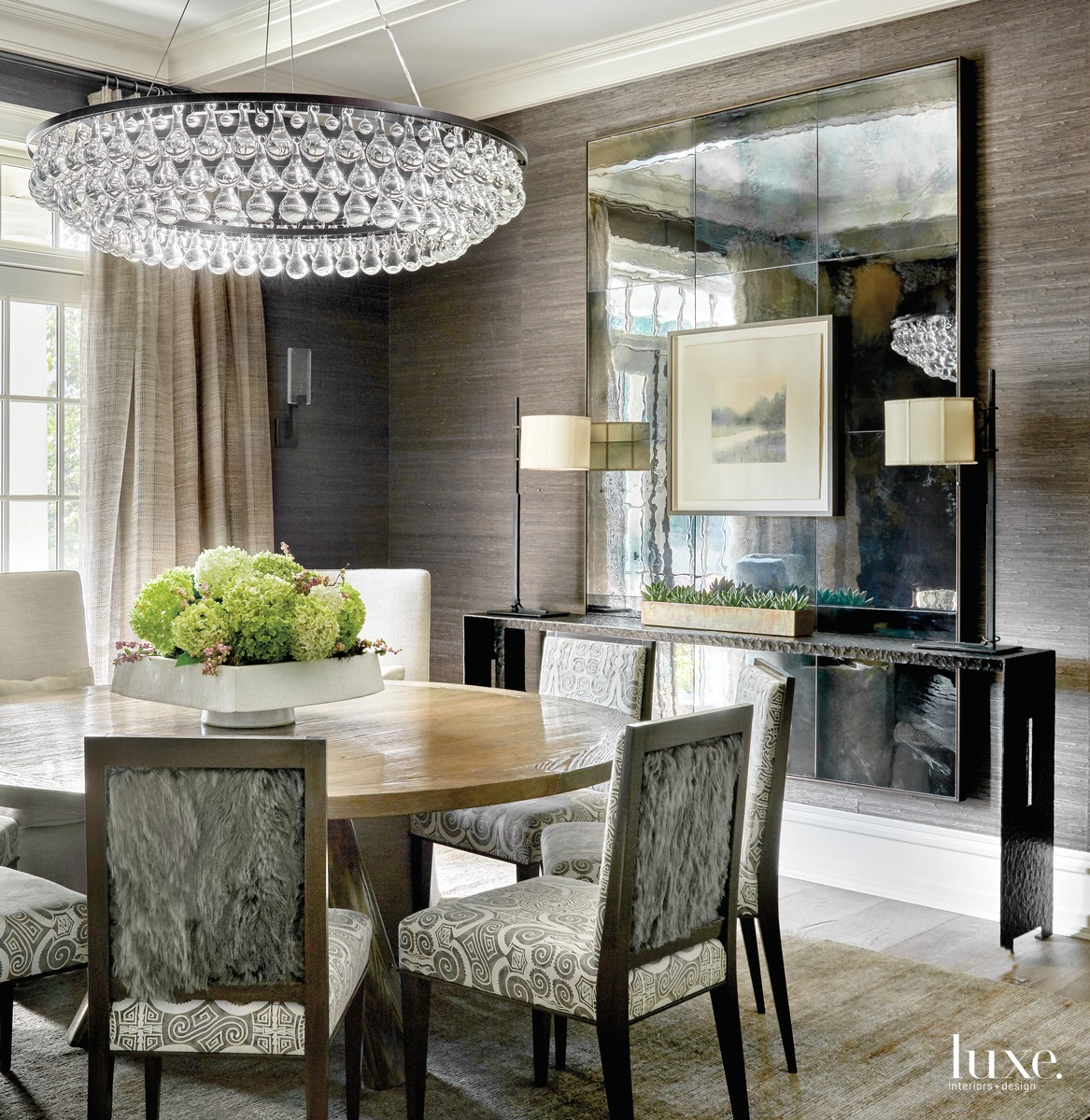 transitional dining room chandelier textured...