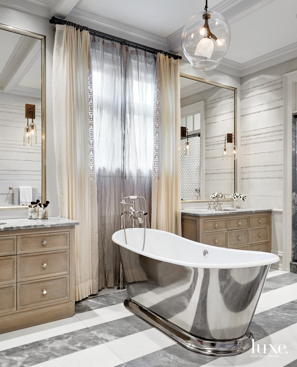 transitional bathroom stainless steel tub
