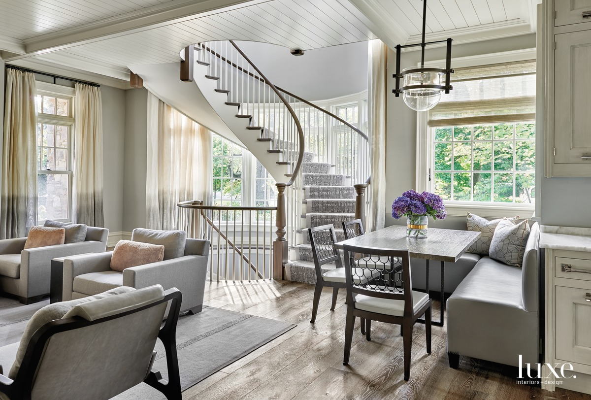 transitional family room and stair...