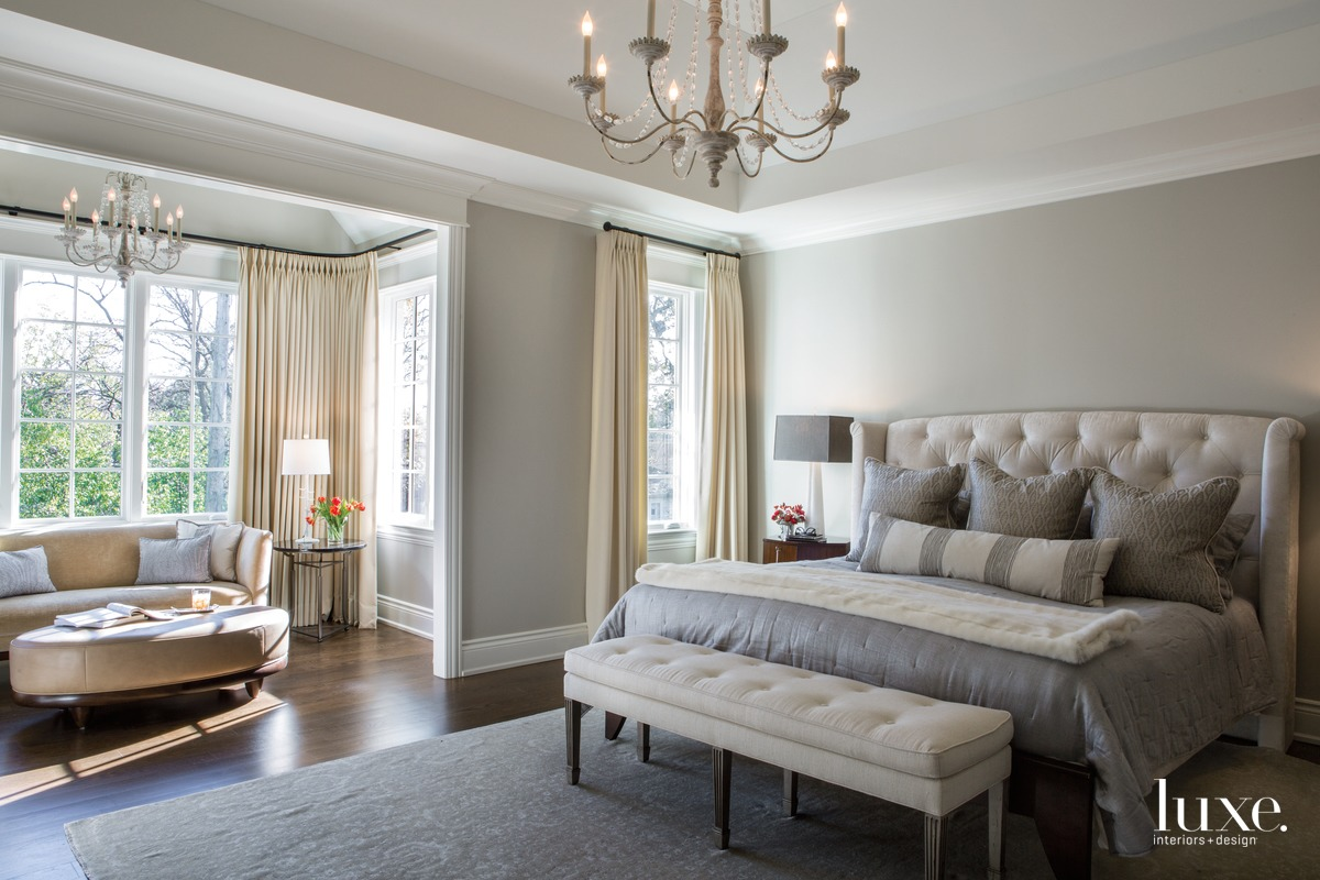 The master bedroom's muted color...