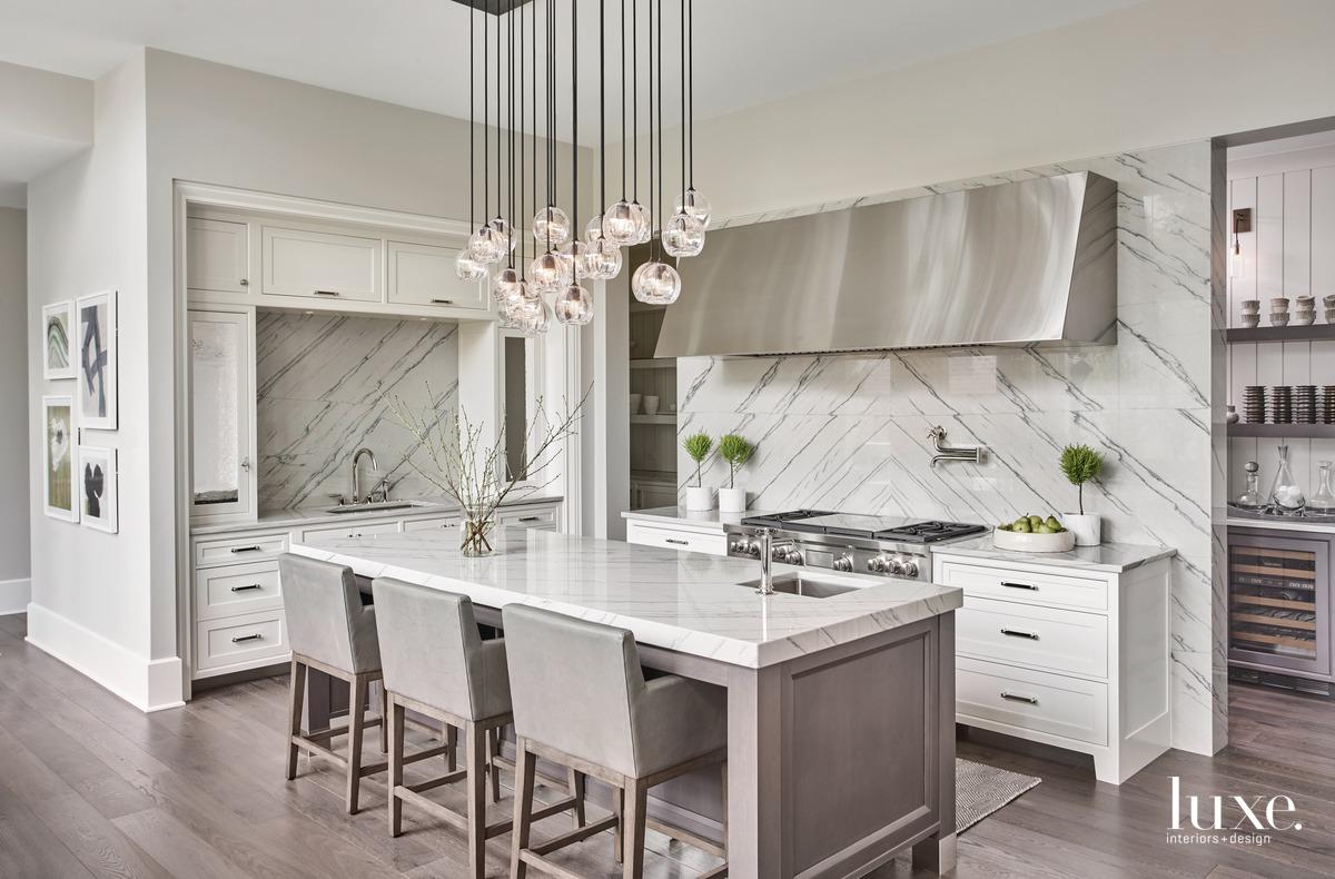 traditional white kitchen quartzite countertops