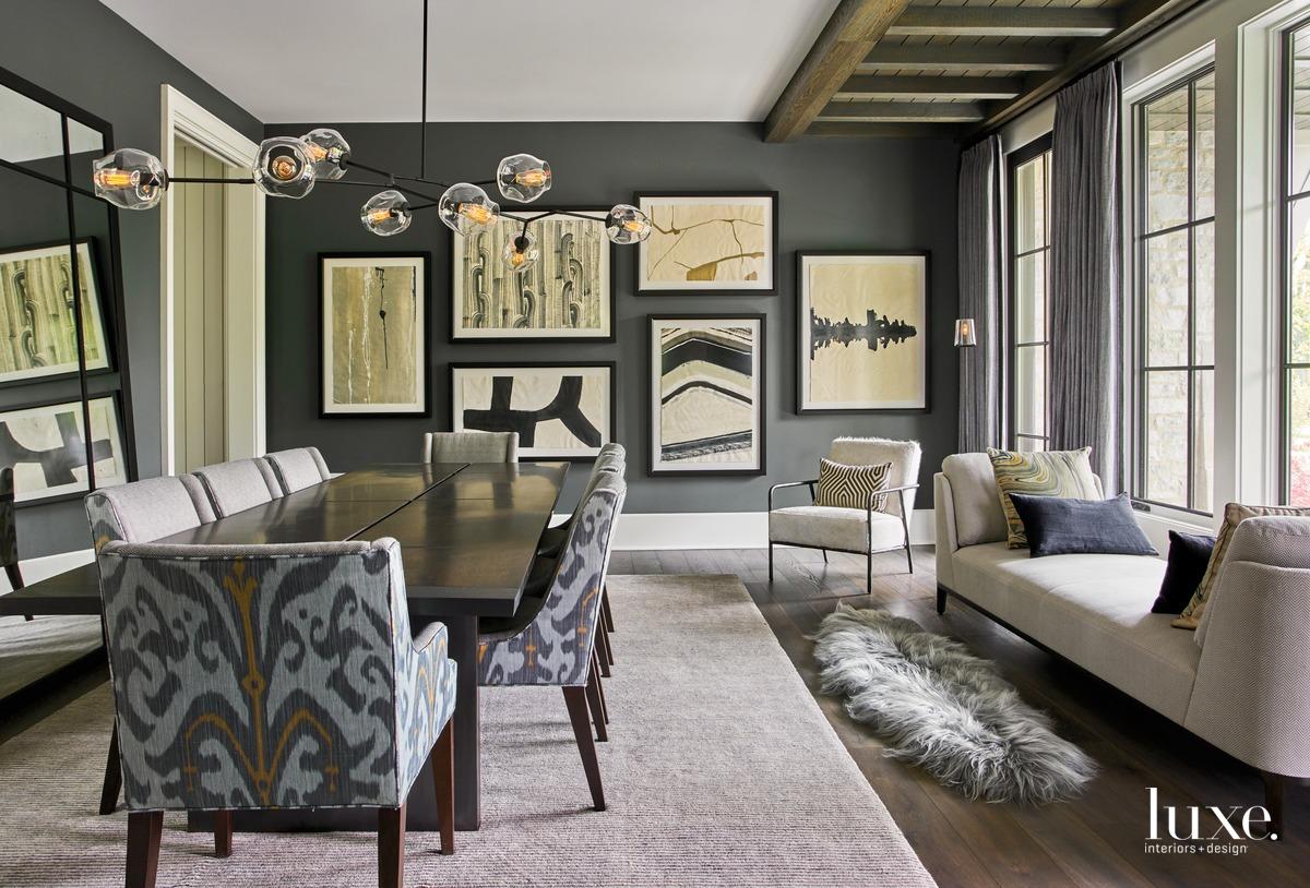 traditional dining room dark palette...