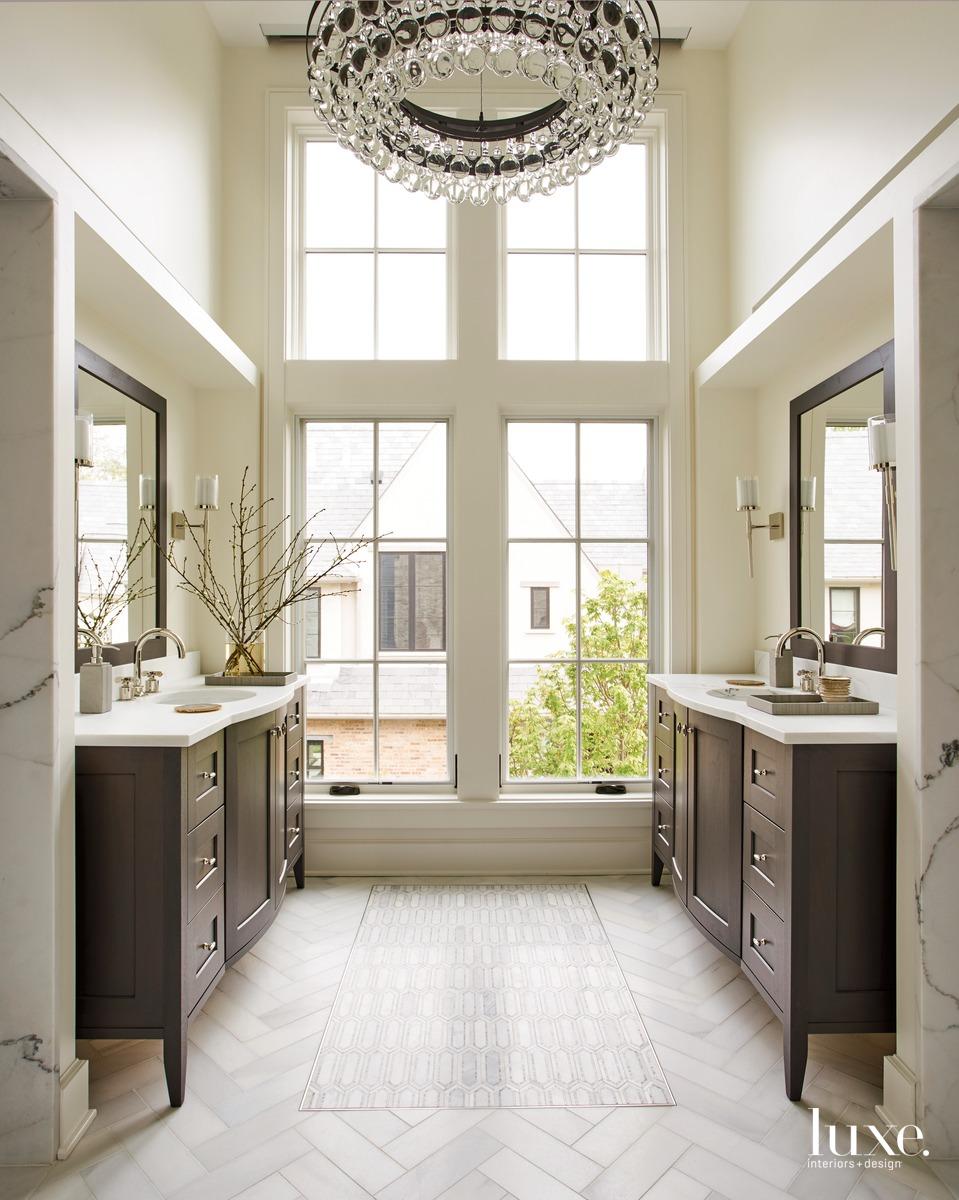 traditional neutral bathroom glass windows