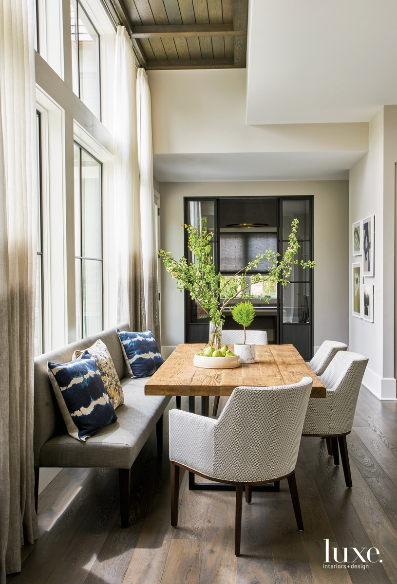 traditional dining area neutral palette