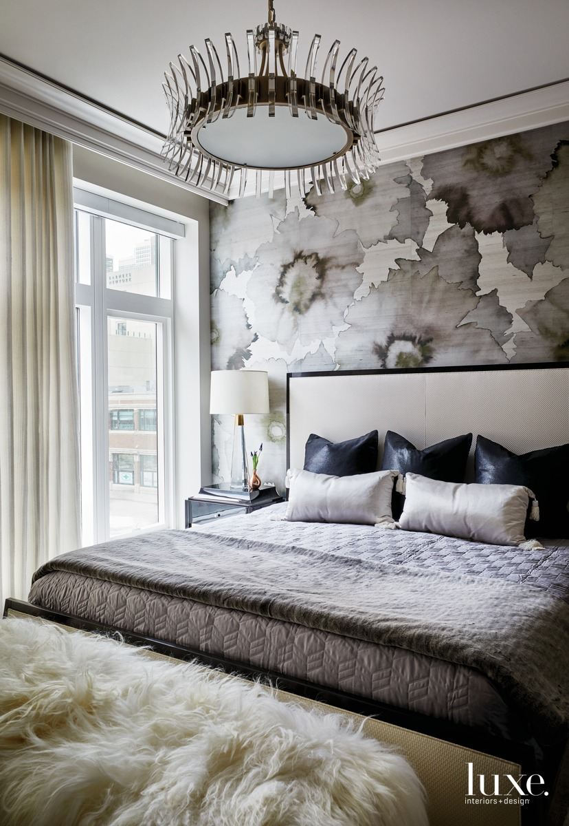 contemporary bedroom neutral palette dark...