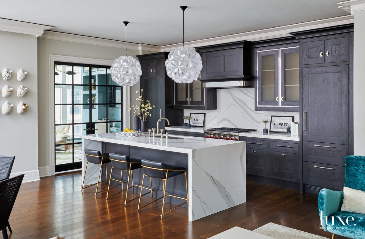 contemporary kitchen black cabinetry white...