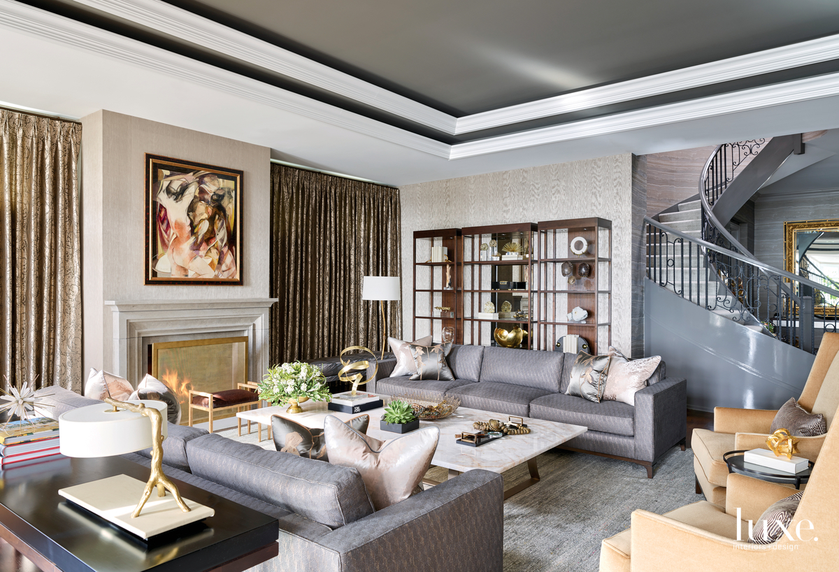 transitional living room gray with...