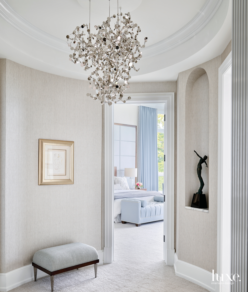 transitional hallway to bedroom white...