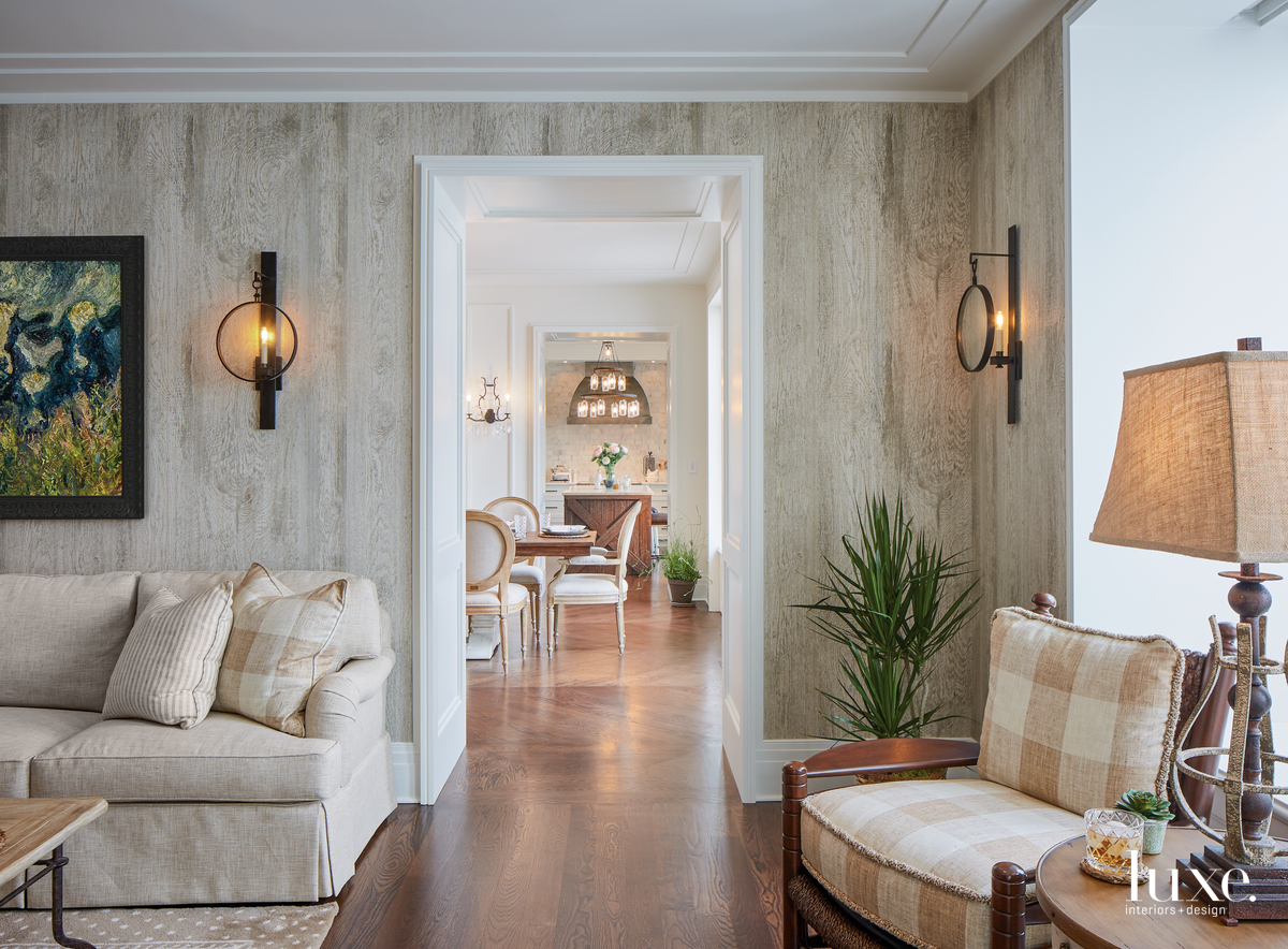 rustic neutral living room hallway
