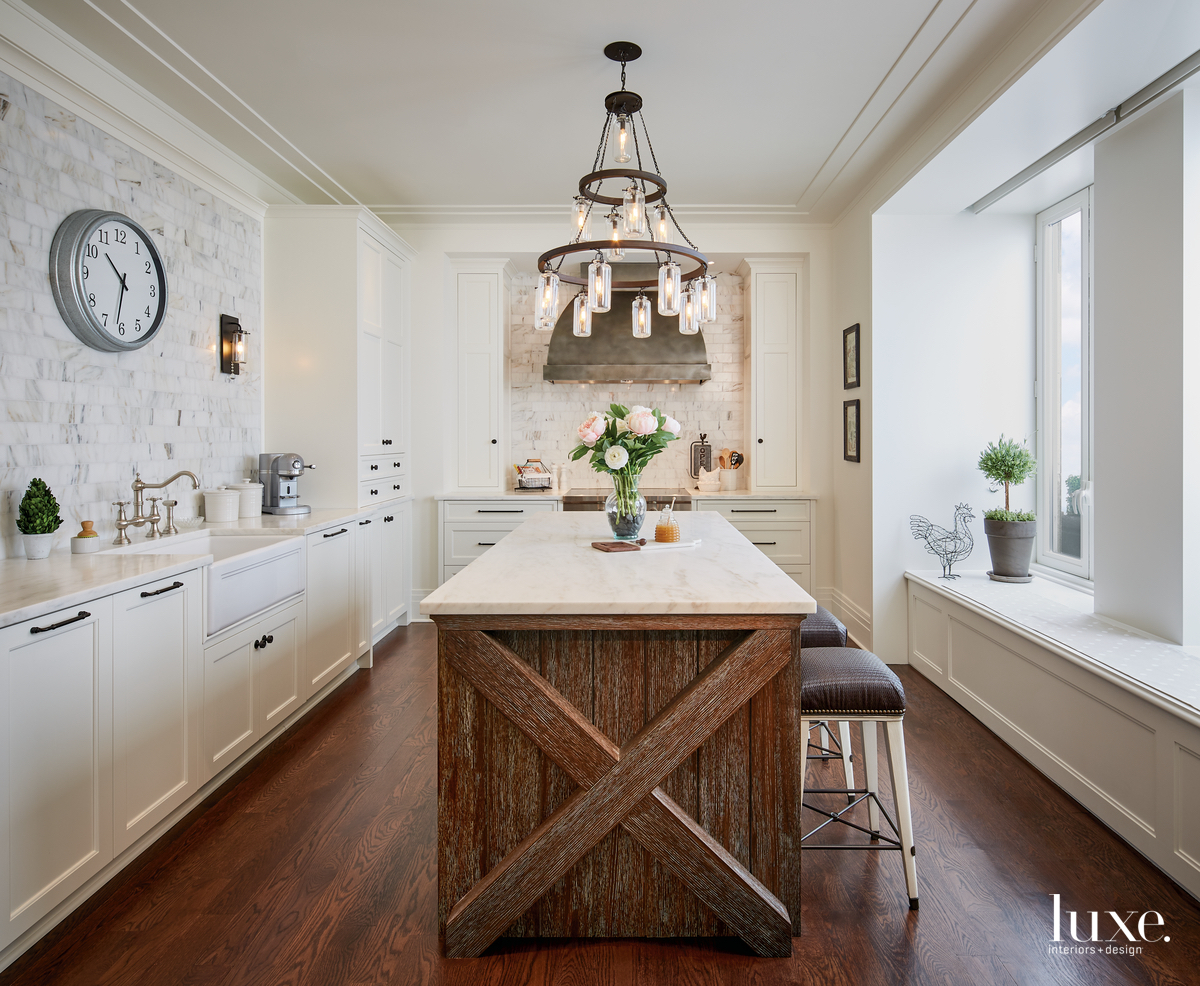 rustic white kitchen brown island