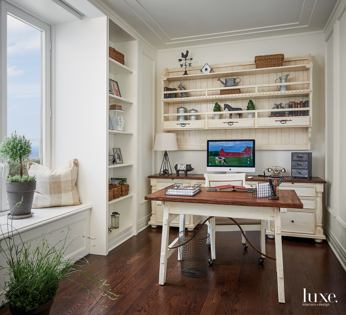 rustic office neutral wall shelving