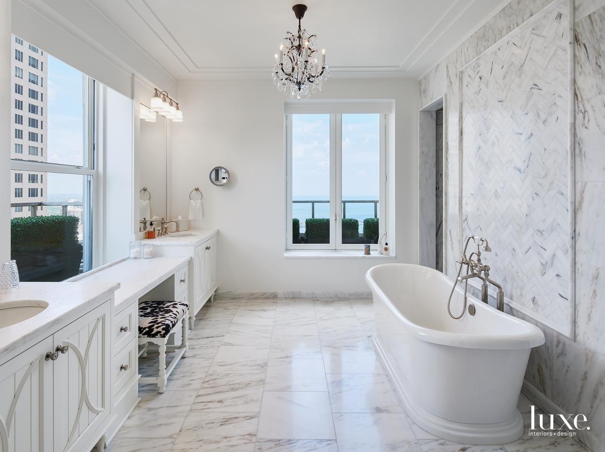 rustic white bathroom marble mosaic...