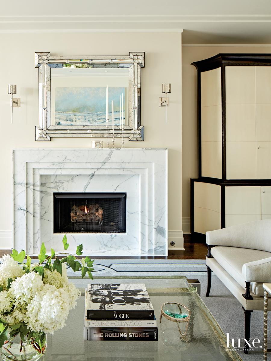 contemporary white living room antique...
