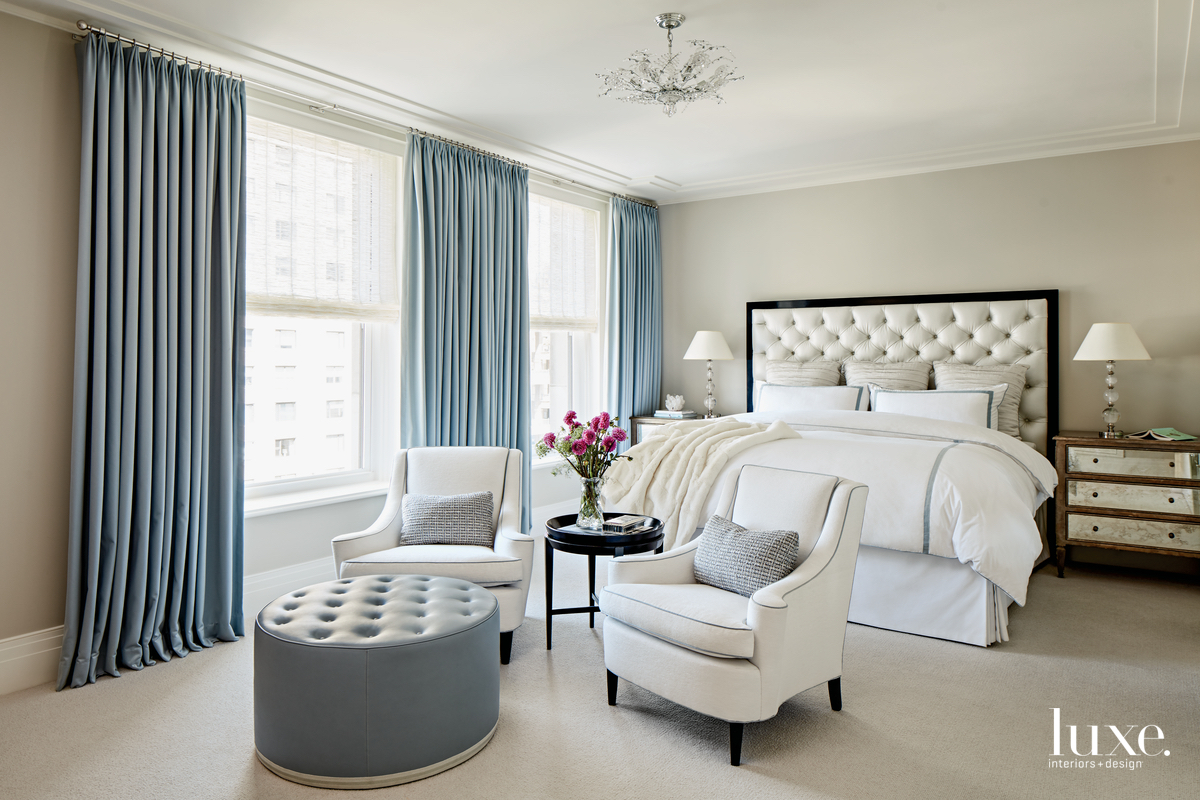 contemporary white bedroom pale blue/gray...
