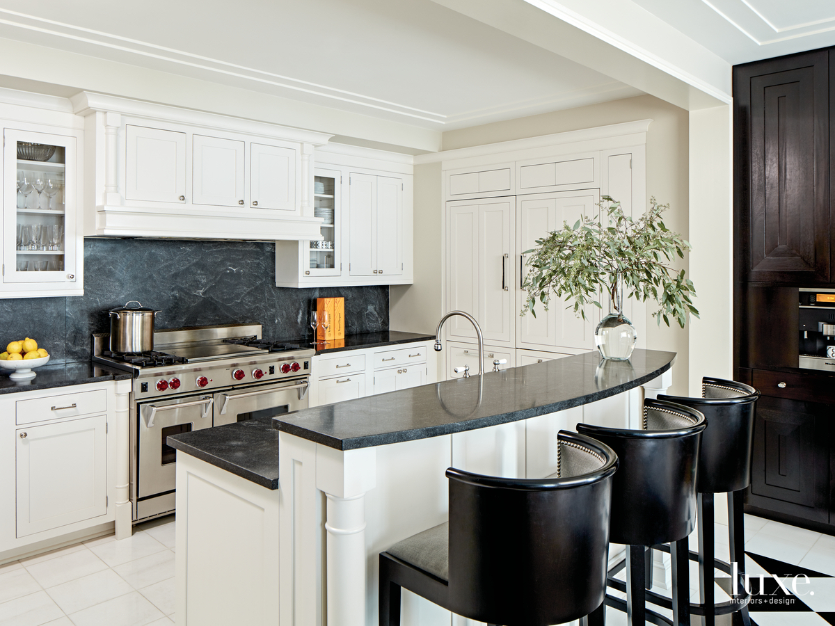 contemporary white and black kitchen...