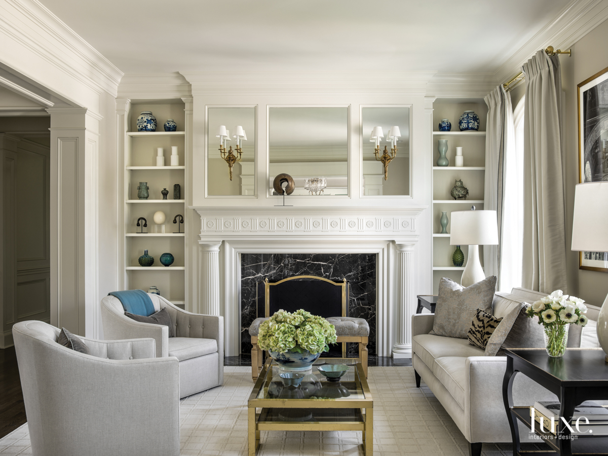 traditional living room neutral gray...