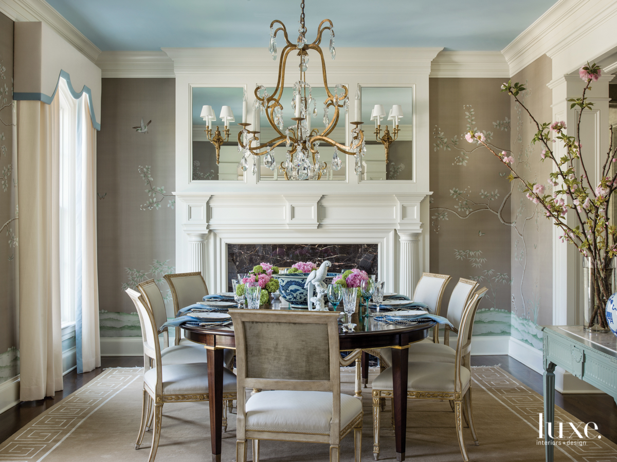 traditional dining room neutral palette