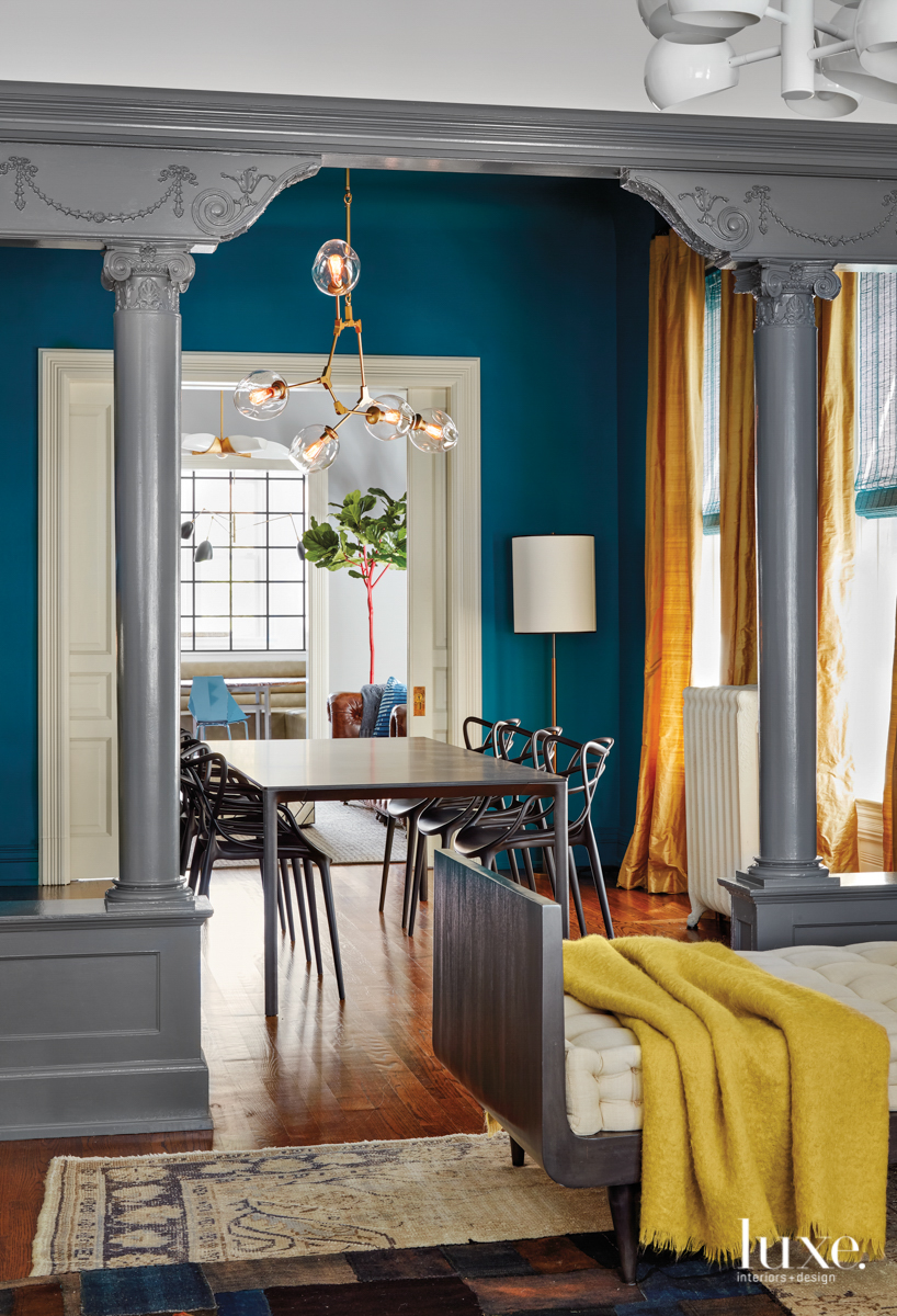 contemporary dining room blue and...