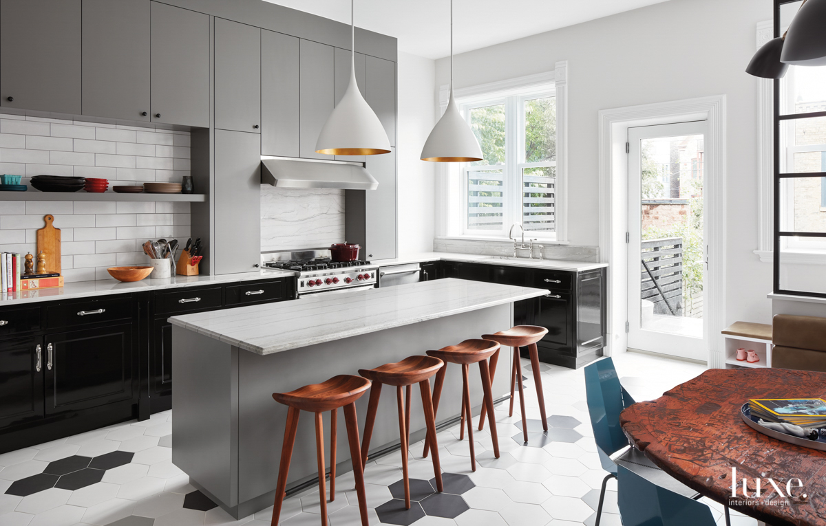 contemporary gray and white kitchen