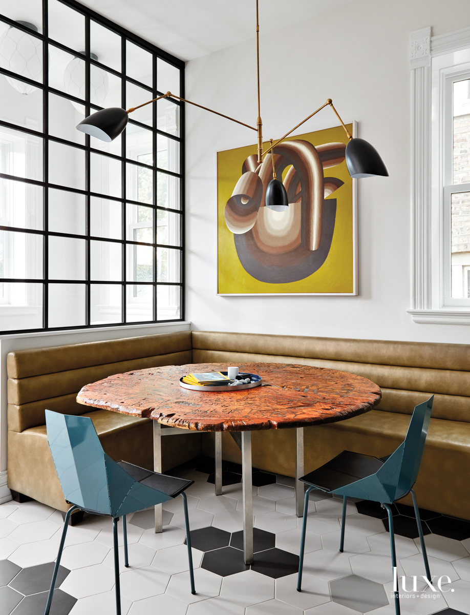 contemporary dining area brown and...