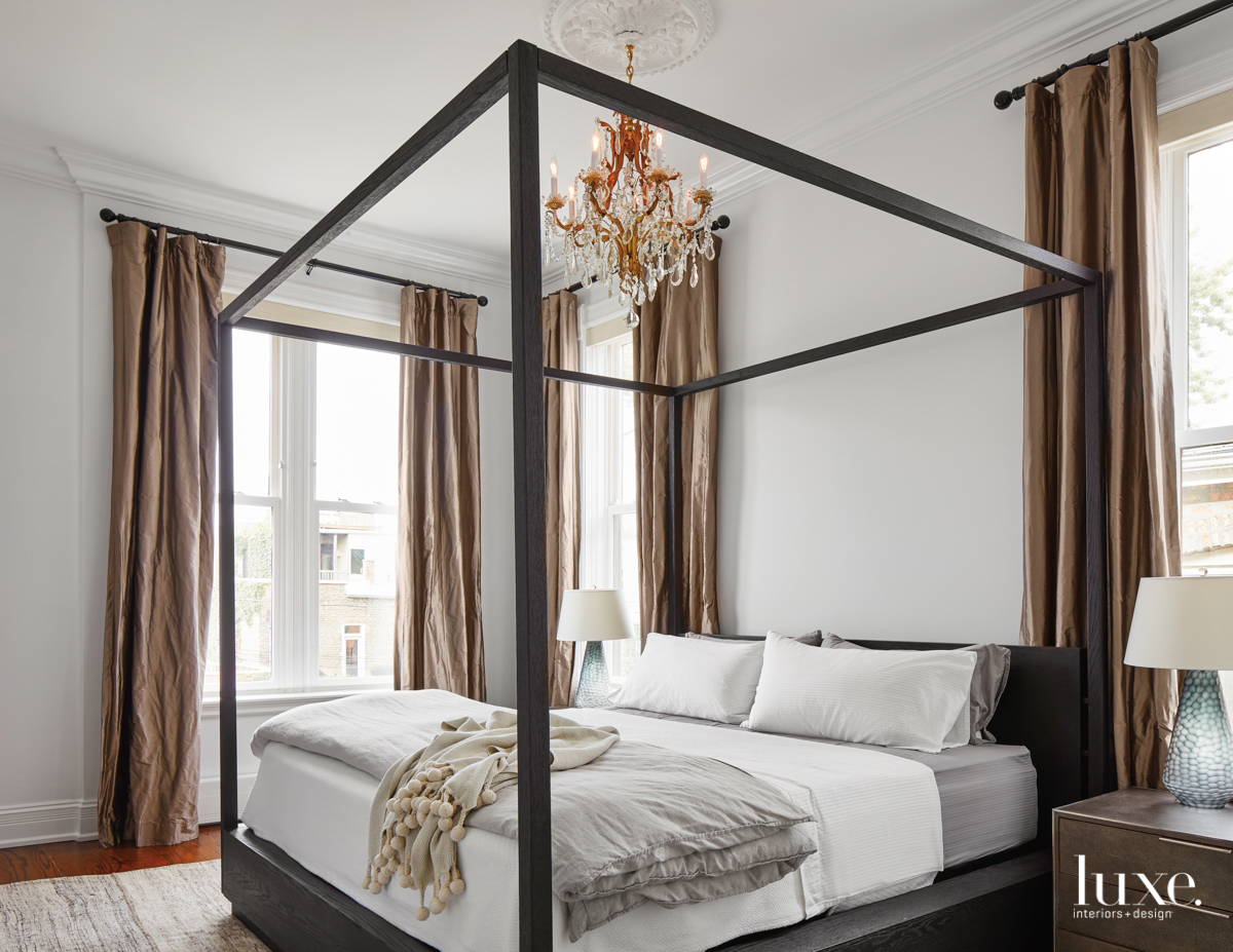 contemporary neutral bedroom canopy bed