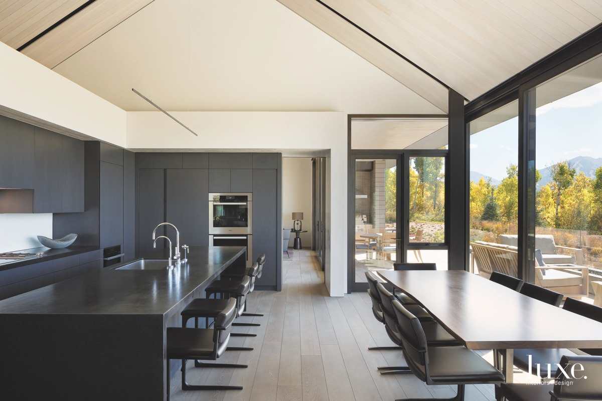 contemporary kitchen gray and black