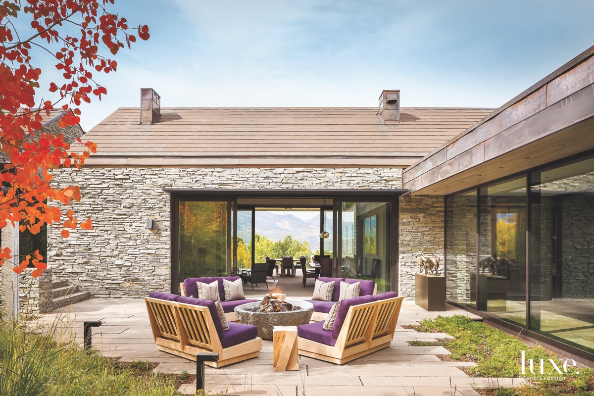 contemporary outdoor sitting area purple...