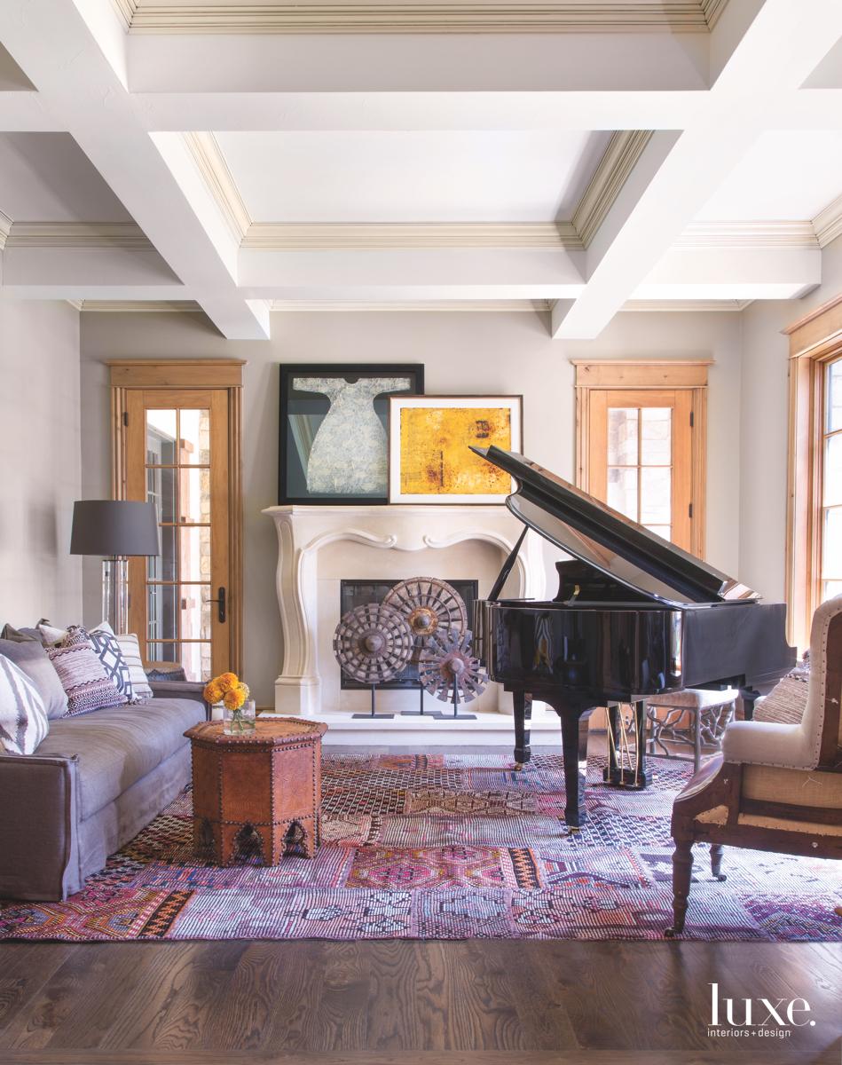 contemporary living room piano rug