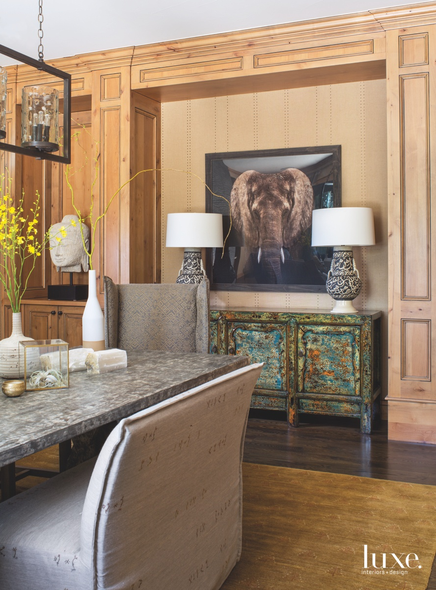 contemporary dining room elephant picture...