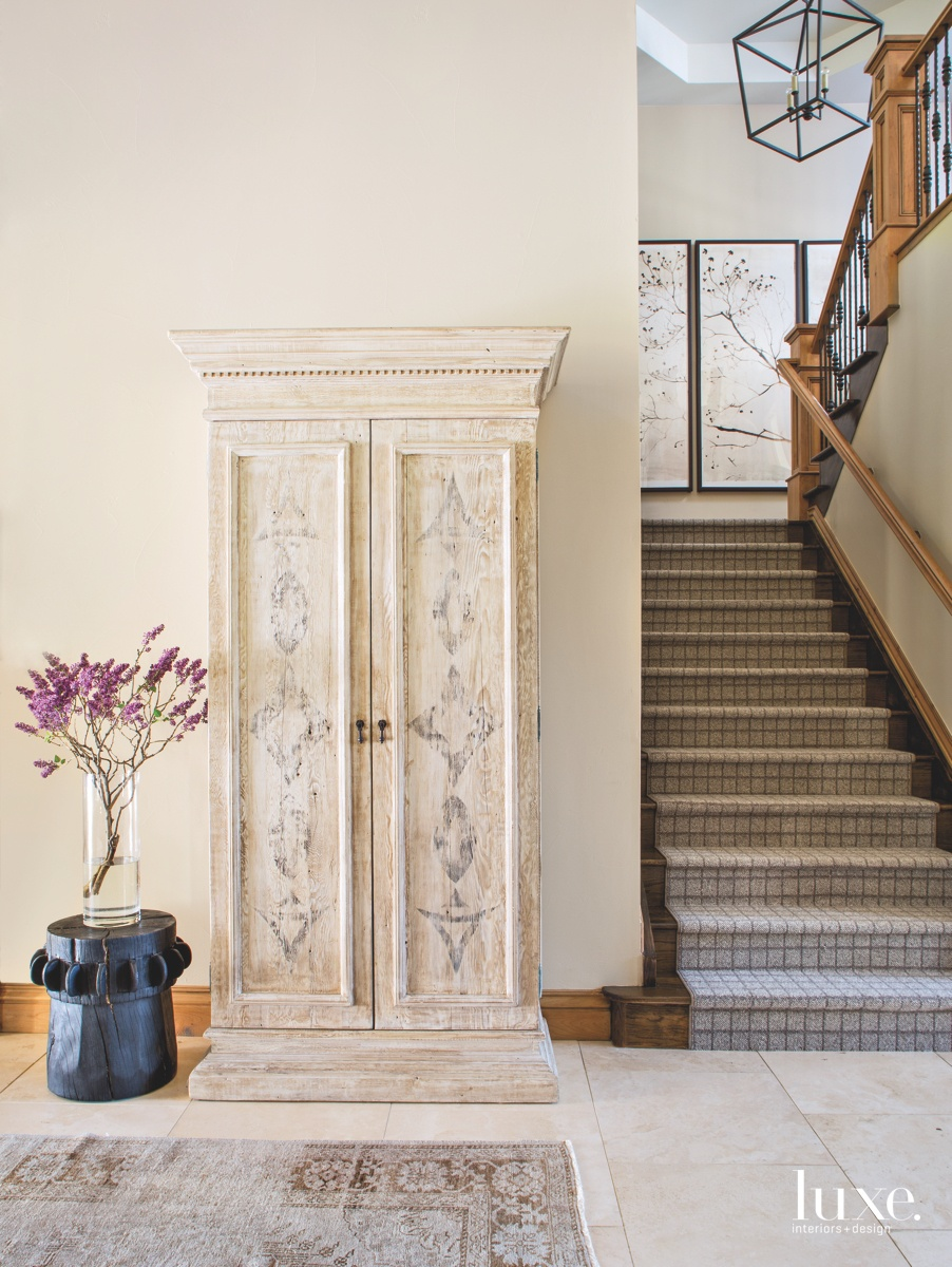 contemporary hallway staircase neutral
