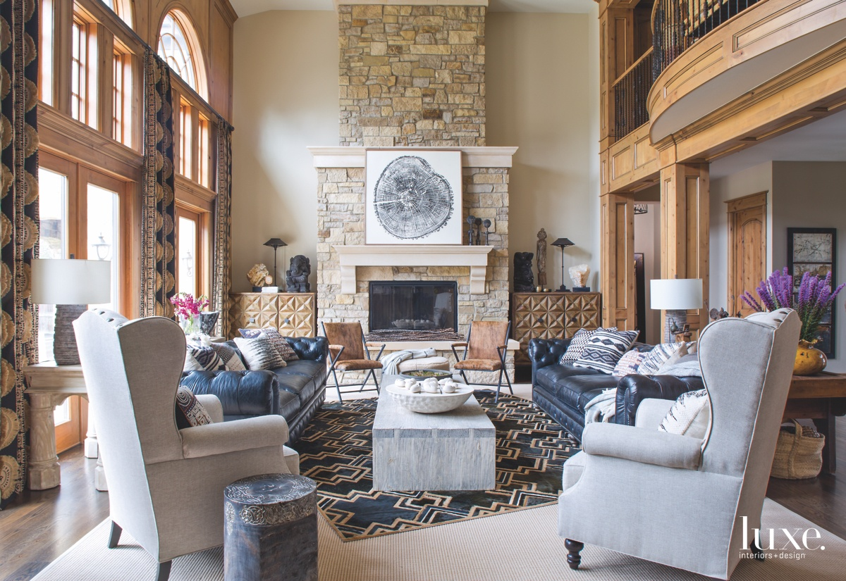 contemporary great room fireplace patterned...