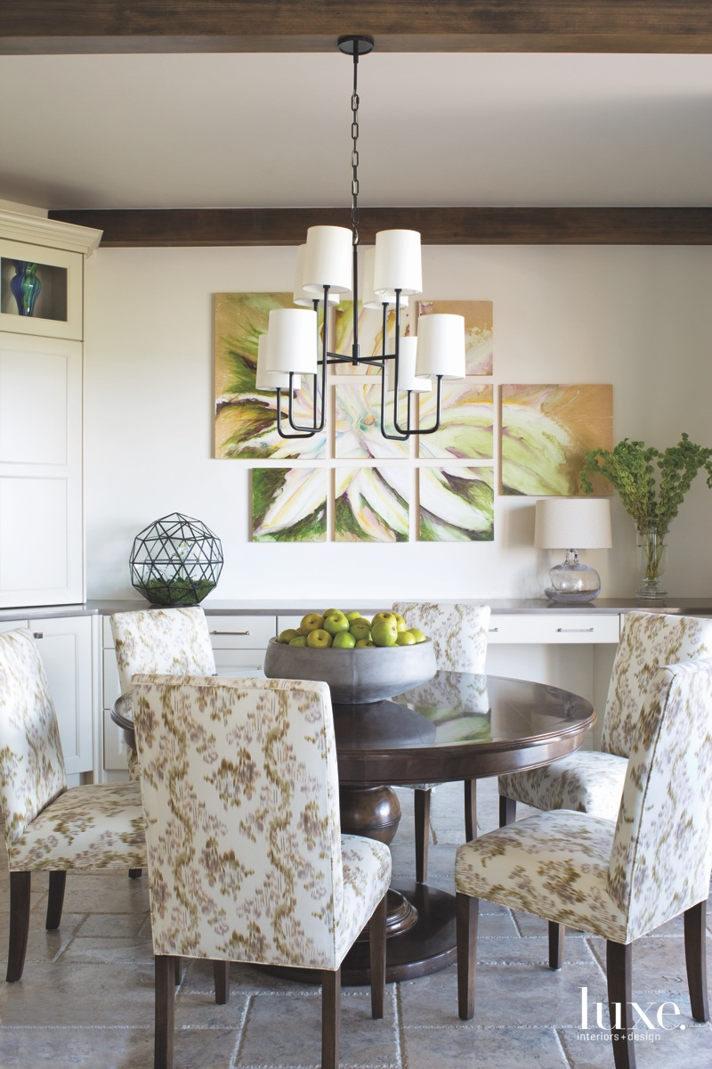 traditional dining room green accents