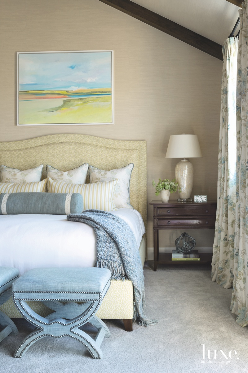 traditional neutral bedroom blue stools...