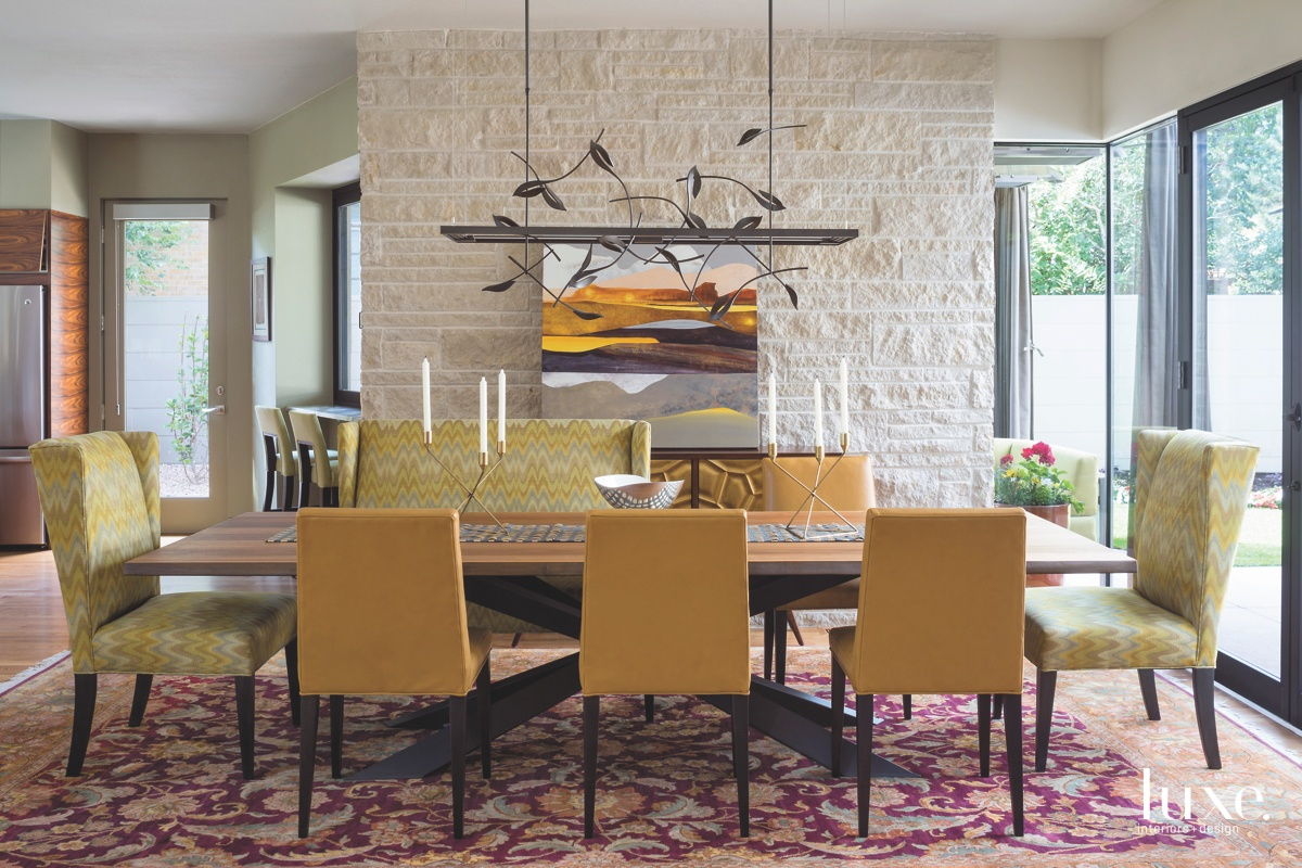modern dining room yellow chairs