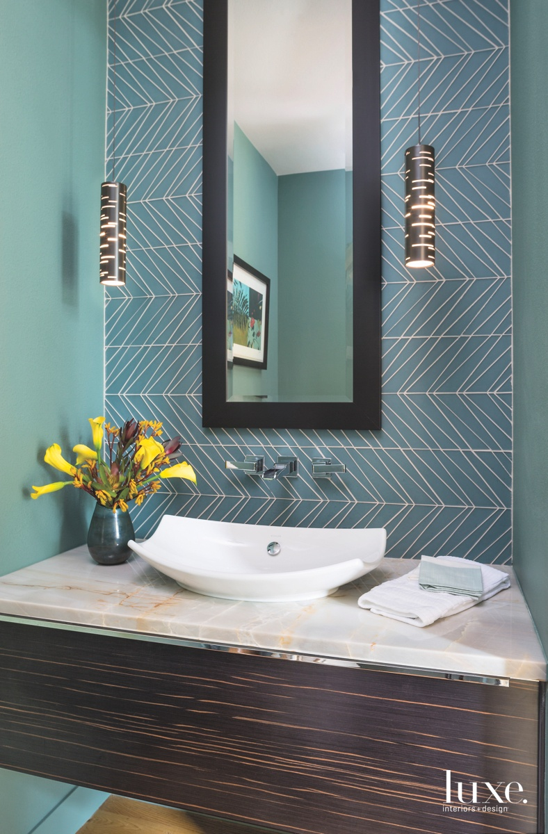 modern blue teal bathroom