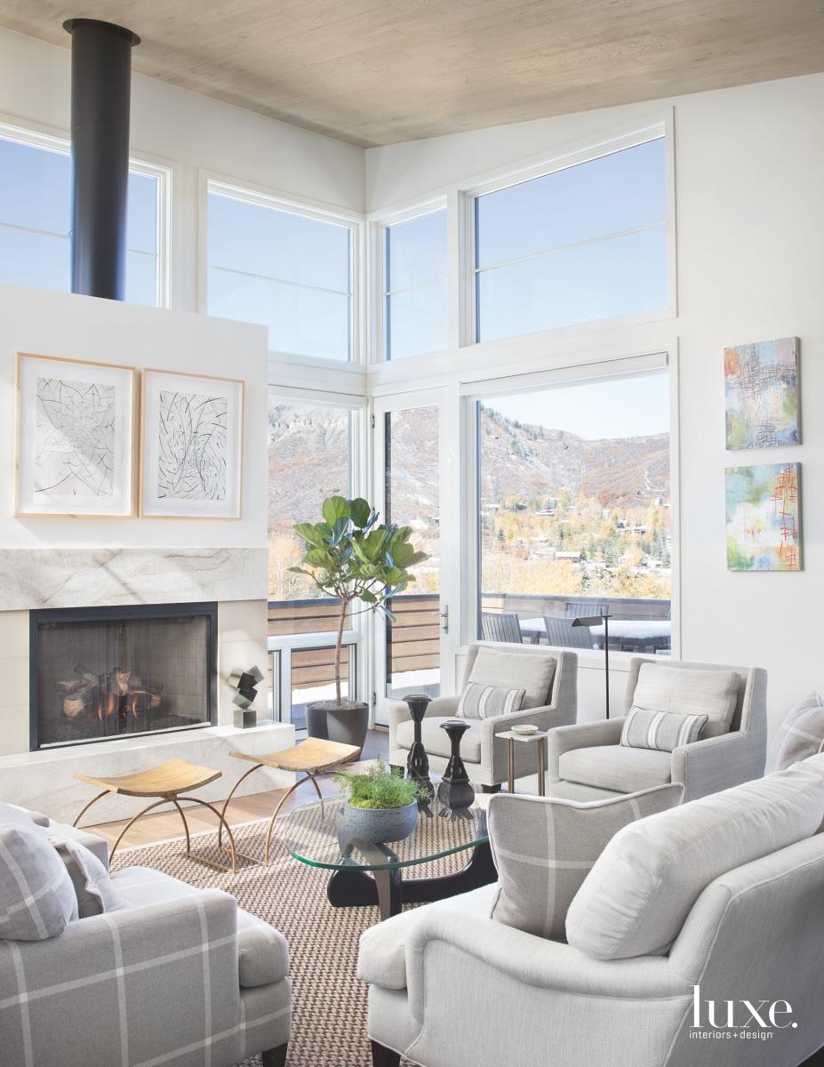 contemporary white living room glass...